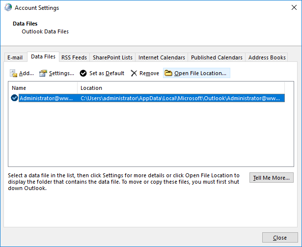 SelectExchange Accountfollowed by openingOpen File Location