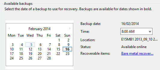 Choose the backup date and time
