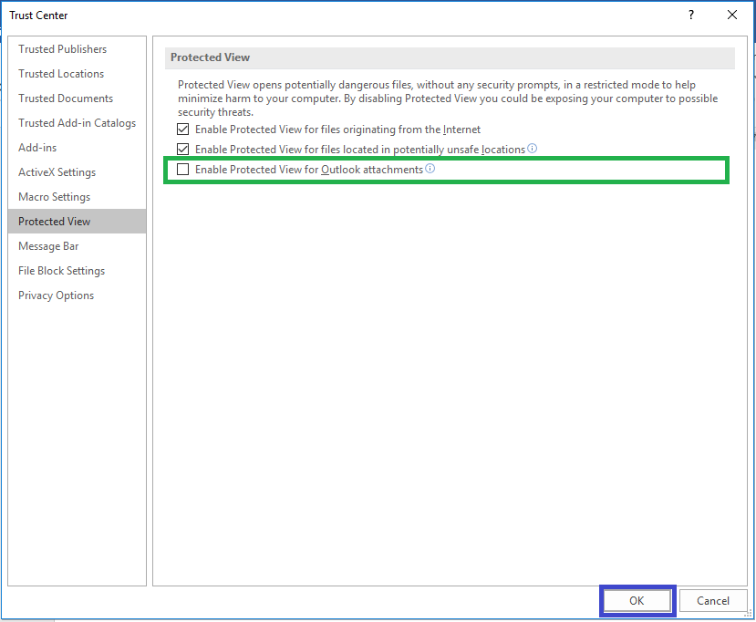 Enable Protected View for Outlook Attachments