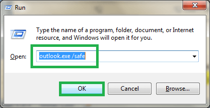 Open the Outlook application in safe mode