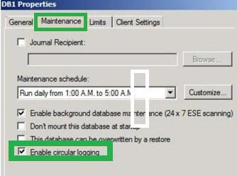 Enable Circular Logging in Exchange 2010 Server