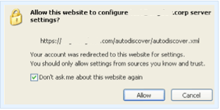 Checks the DNS for Autodiscover record with two Autodiscover URLs