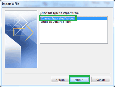 Select the option Comma Separated Values