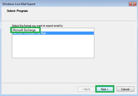 Select the Microsoft Exchange option under Select Program section