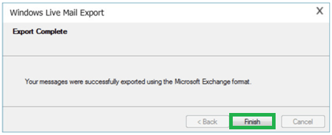 Export Complete instruction, click on Finish option