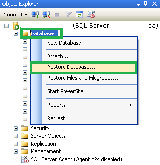 Select Restore Database option from the list