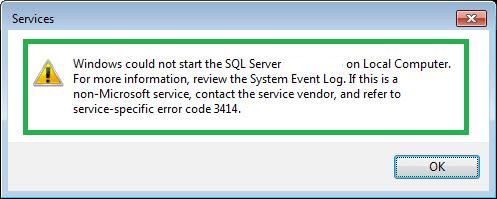 Error Code 3414 MS SQL Server