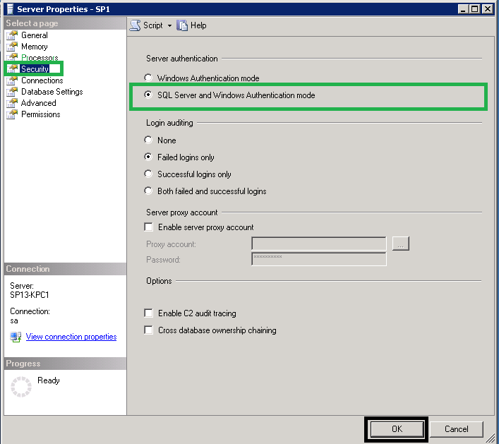 Select the option SQL Server and Windows Authentication mode