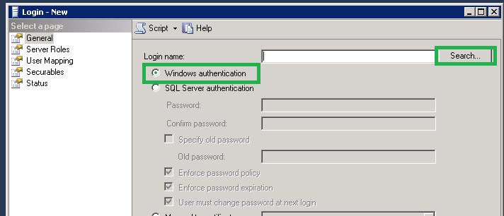 Select Windows authentication option
