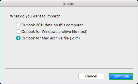 Select the third-option of Outlook for Mac archive file