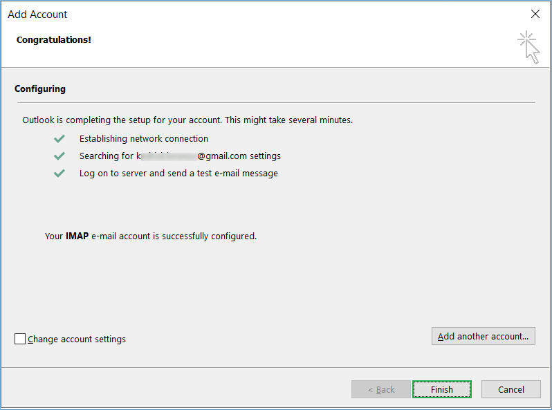 Outlook will verify your account's credentials and log on to the server