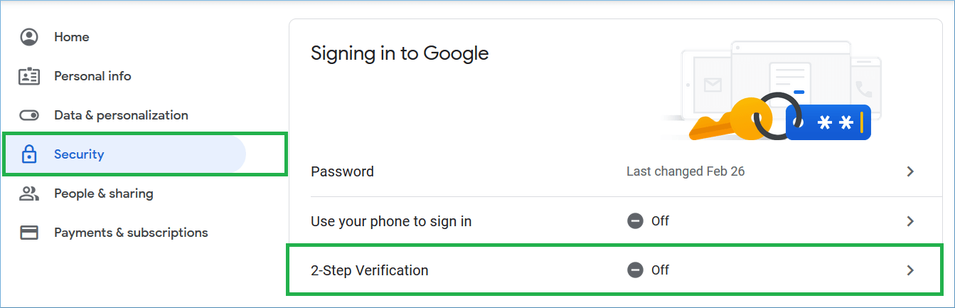 In the security category, click the 2-step verification section