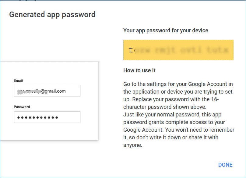 New password has been generated for you