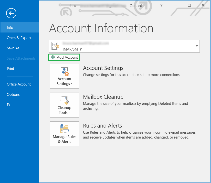 Go to Outlook and click Add Account button