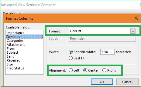 Format column dialogue box