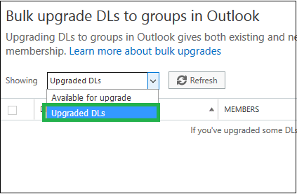 Bulk upgrade DLs to groups in Outlook