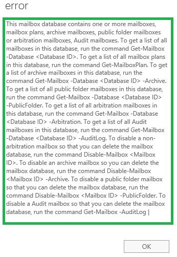 Delete Default Mailbox Database in MS Exchange 2016