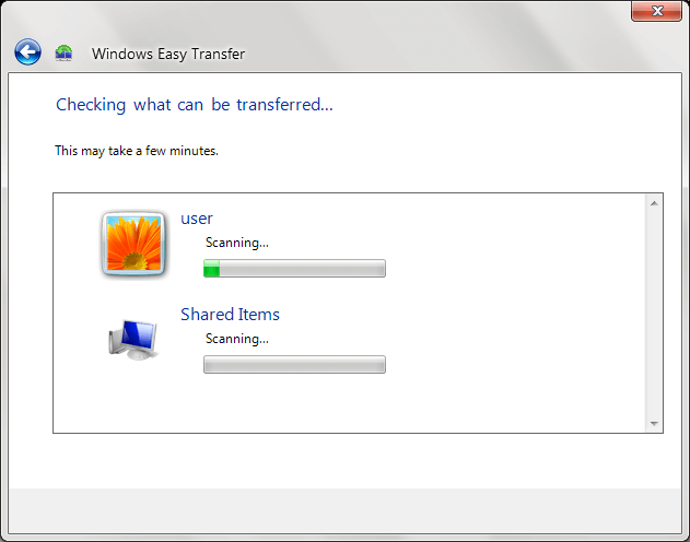 The tool will start scanning the available data for transfer to external device