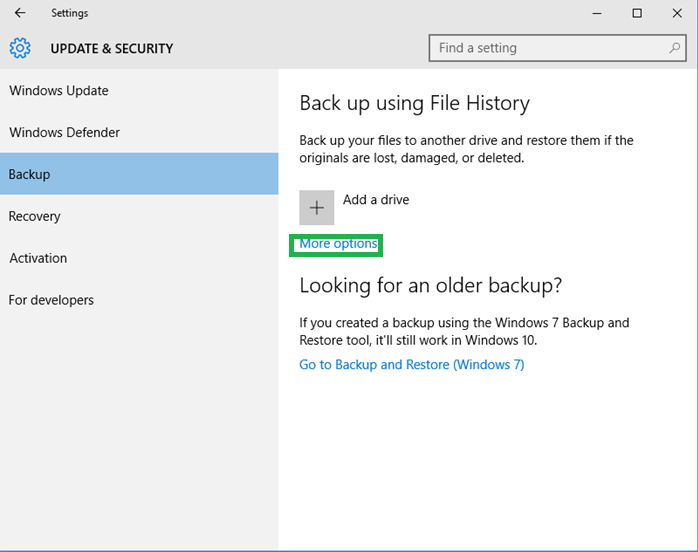 Click on More options under Backup using File History section