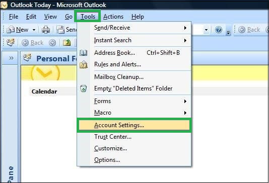 Click on Tools menu and then select Account Settings