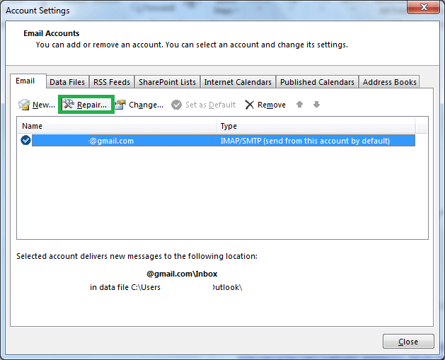 Select your Outlook profile and click on Repair option