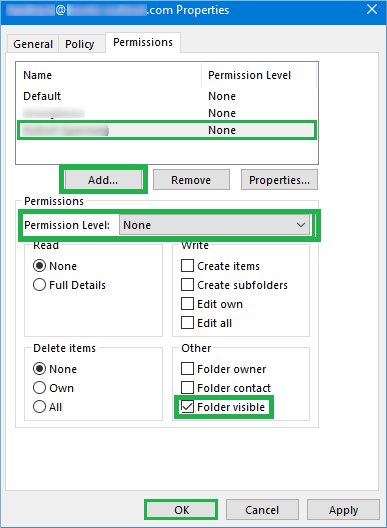 Choose the Permission level and check the option 'Folder visible'