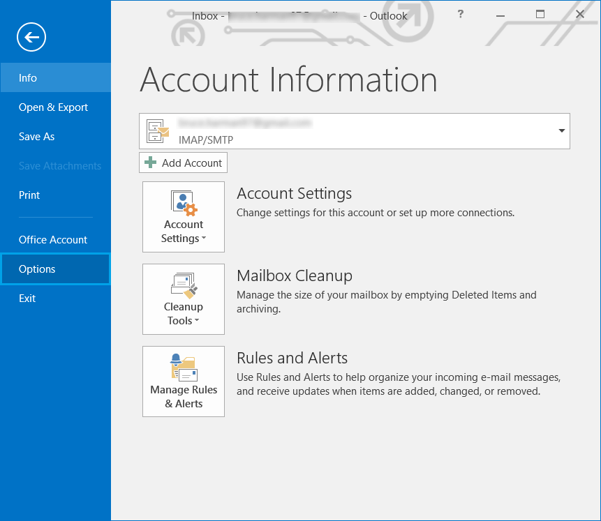 Start Outlook, click File and go to Options