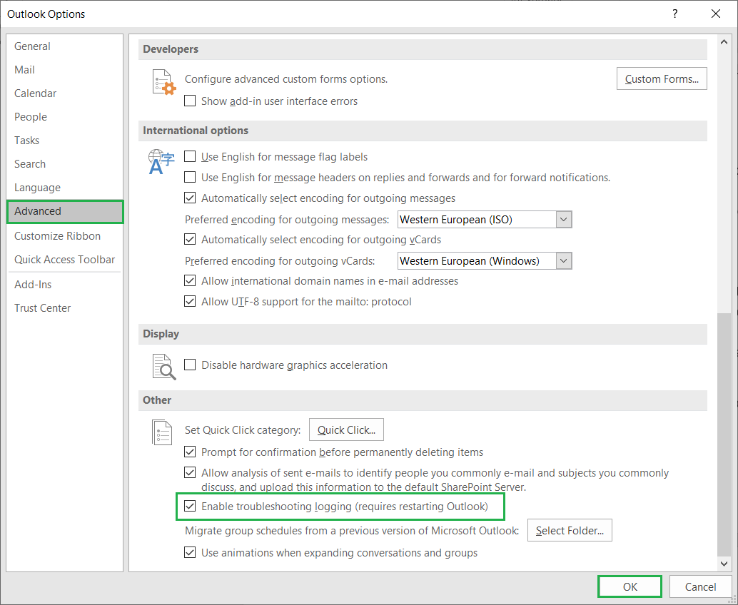 Check the option Enable Troubleshooting logging