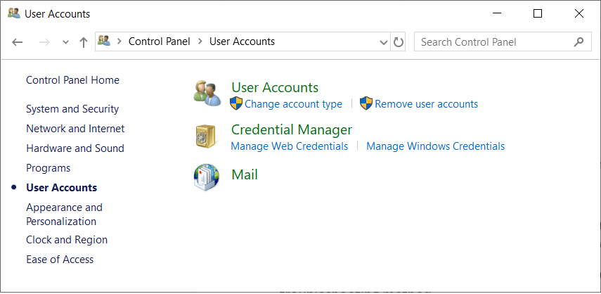 Start Control Panel and search Mail