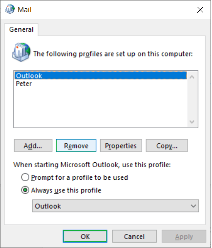 Show Profiles tab and select the older account