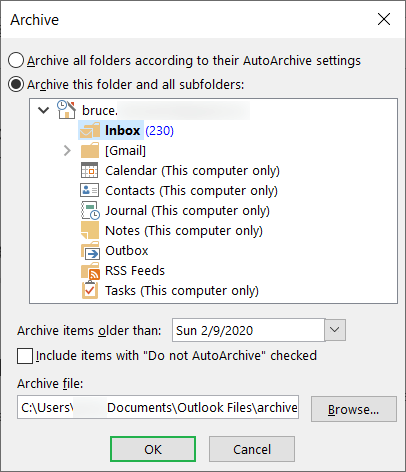 Browse a folder location for the archive folder