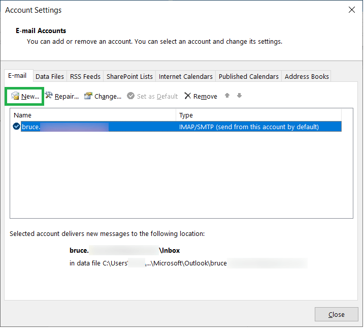 Follow the steps to add the PST file