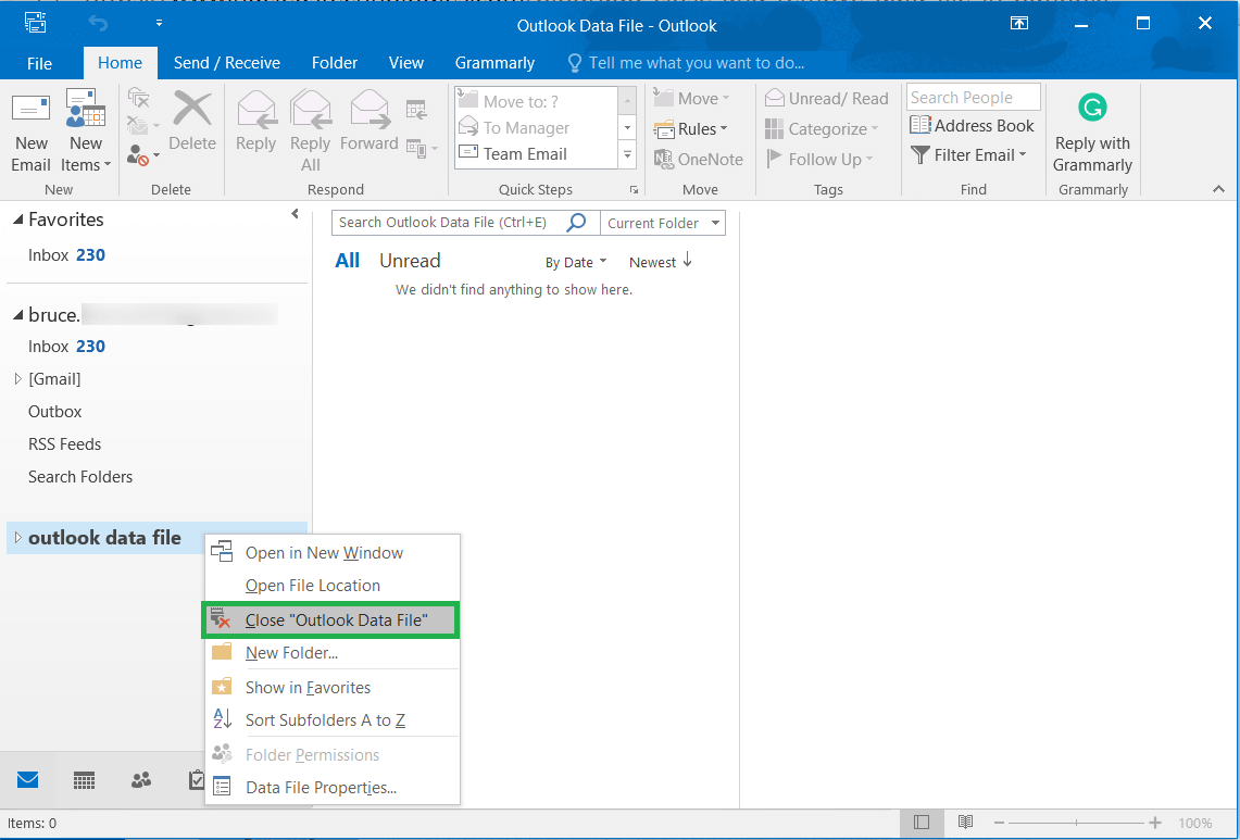 Choose the profile, right-click and click Close 'Outlook Data File'