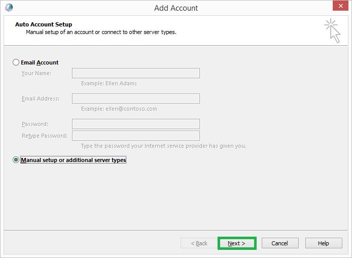Select Manual setup or additional server types option