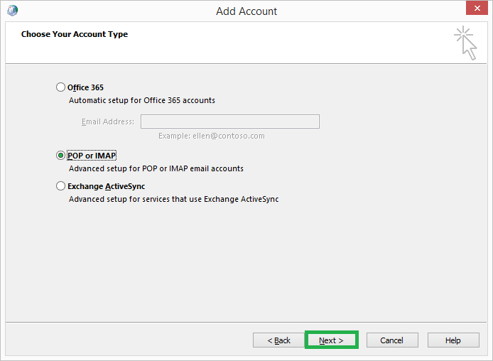 Choose the Account Type as POP or IMAP