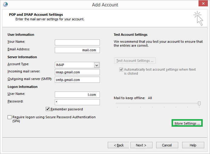 Provide the mail server settings for your account