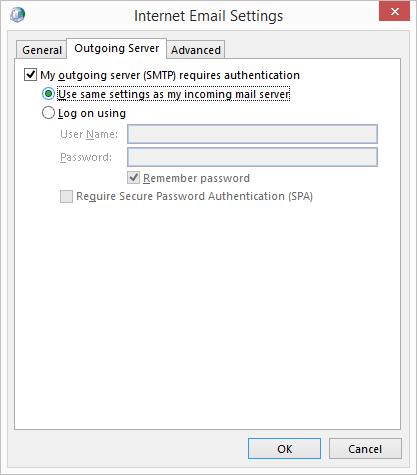 Internal Email Settings window