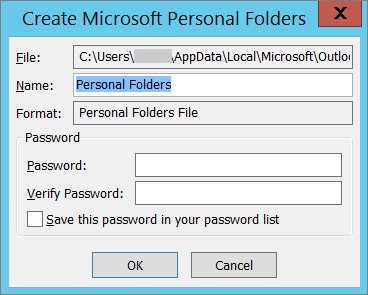 Provide a password for the Outlook PST file