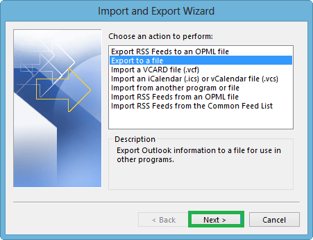 Select the option Export to a file from the list