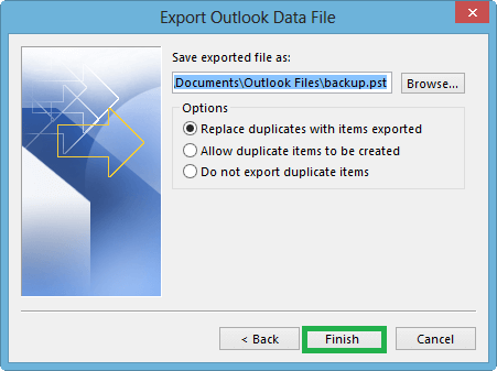 Select Outlook Data File (.pst) as the saving file format