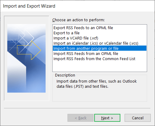 Find and click the option 'Import from another program or file
