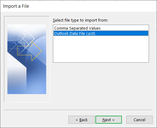 Click the second option 'Outlook Data File (.pst)