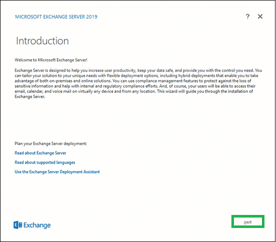 Introduction page for the Exchange Server 2019
