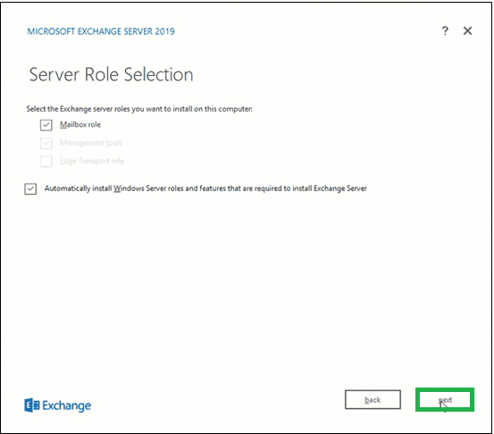 Select Mailbox role option under Exchange Server roles section