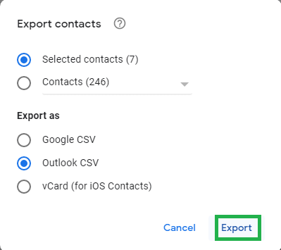 Select Outlook CSV option under Export as section