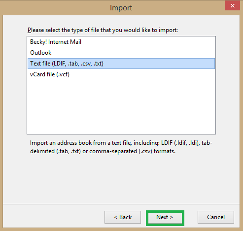 Select Text file option