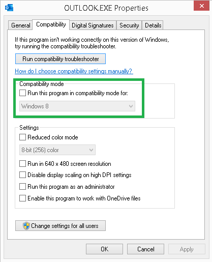 Move to the Compatibility tab