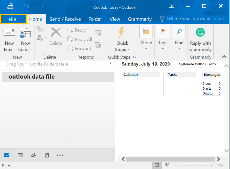Open Outlook and go to File option