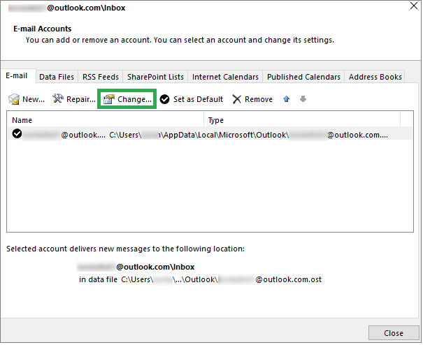 Select the E-mail and click Change Icon