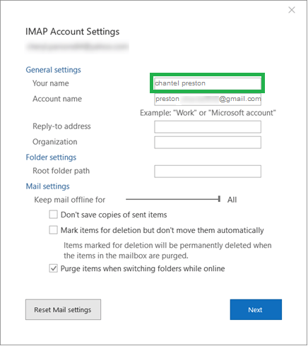 General Settings of your account